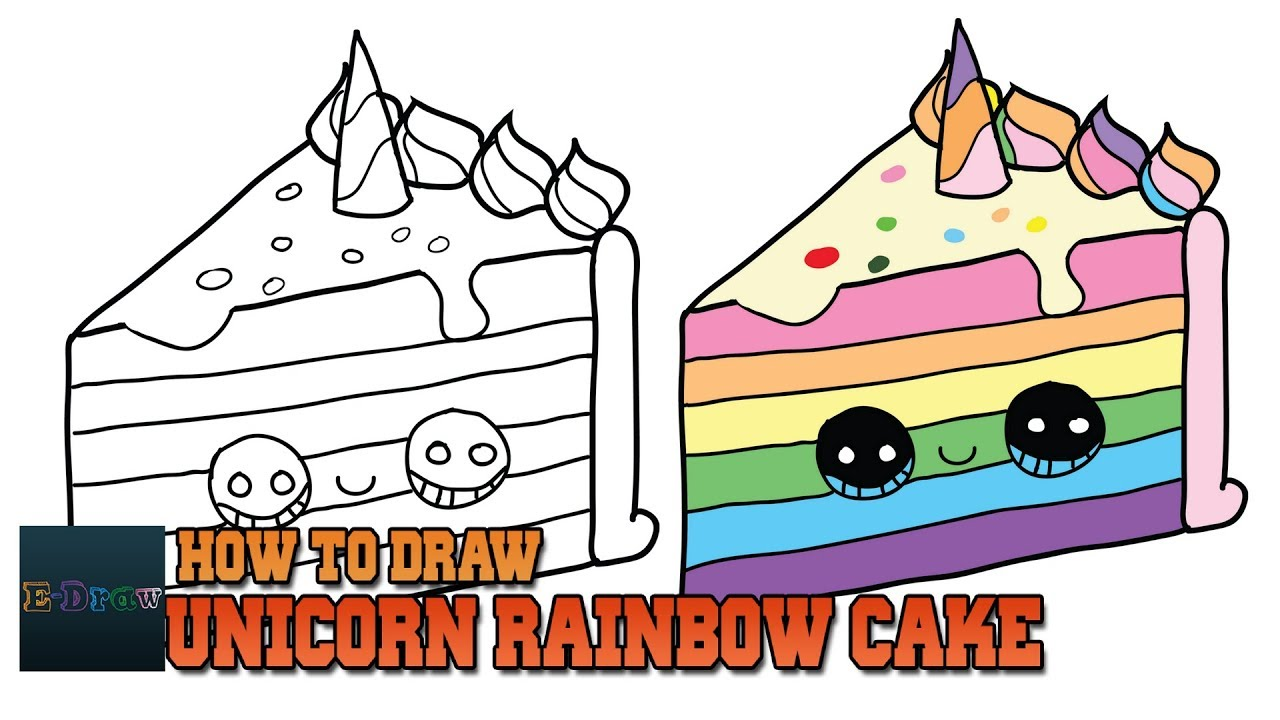 How To Draw A Unicorn Rainbow Cake Slice Easy And Cute Step By Step