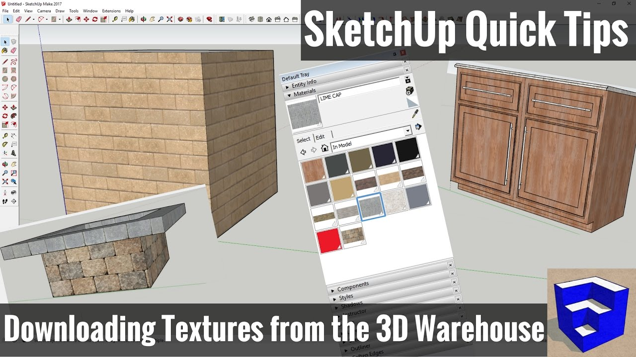Importing 3d Warehouse Textures In Sketchup Sketchup Quick Tips