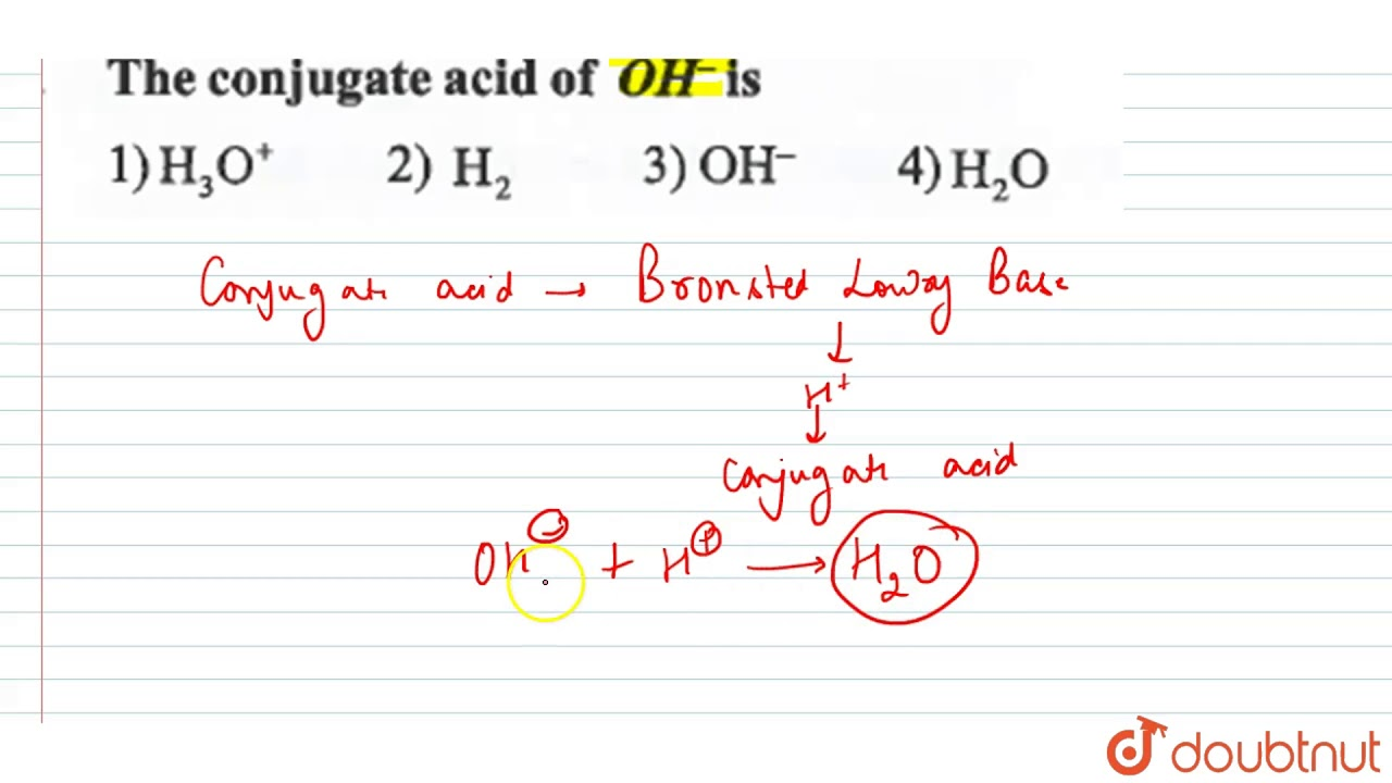 The conjugate acid of `OH^(-)` is