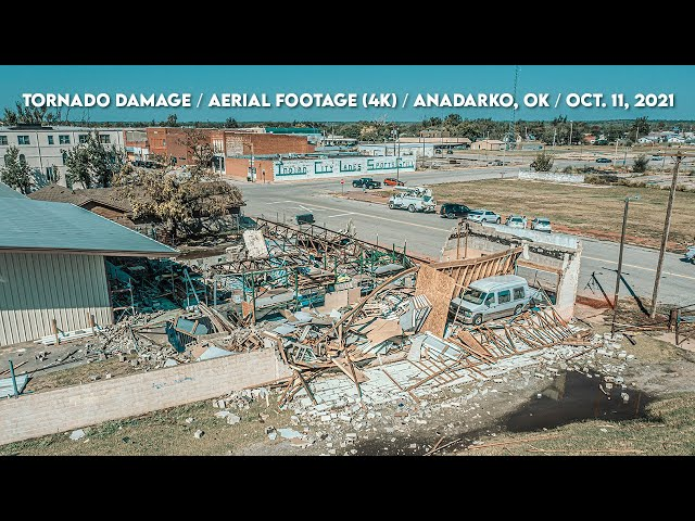 TORNADO DAMAGE! 4K Aerial Footage / Anadarko, OK / October 11, 2021