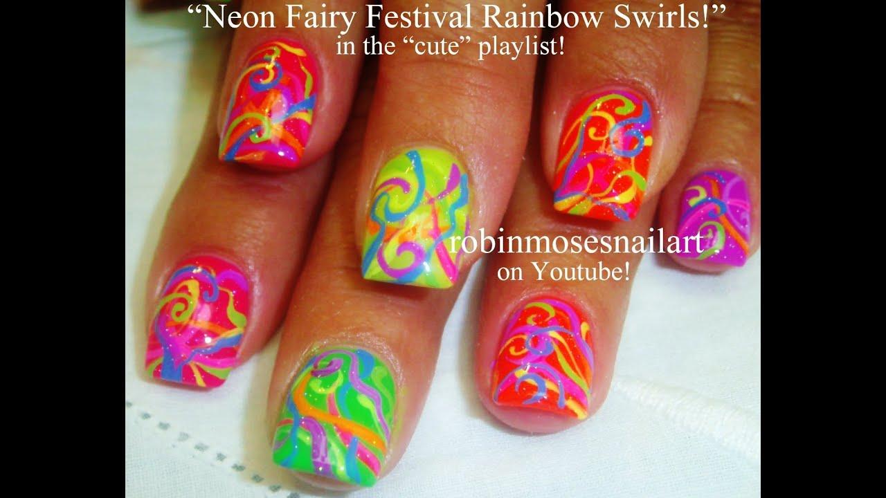 Nail Art Tutoral | DIY summer neon nails | Easy Rainbow Ribbons ...