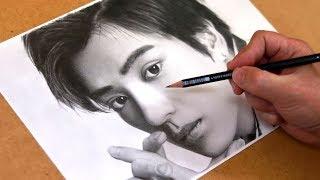 新田真剣佑さんを鉛筆で描きました。 鉛筆を使った似顔絵製作の一部始終...