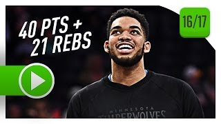 Karl-Anthony Towns Full Highlights vs Lakers (2017.04.09) - 40 Pts, 21 Reb, BEAST!