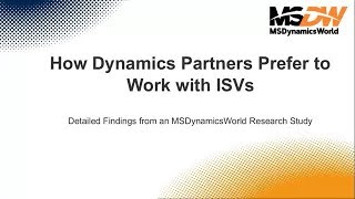 How Dynamics Partners Prefer to Work with ISVs New Research Findings 20181113 1700 1