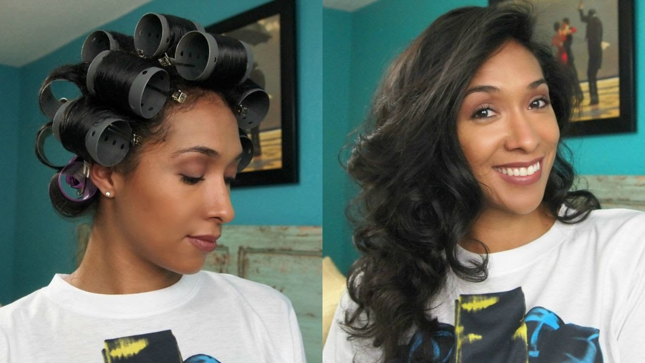 curly to straight hair: roller set