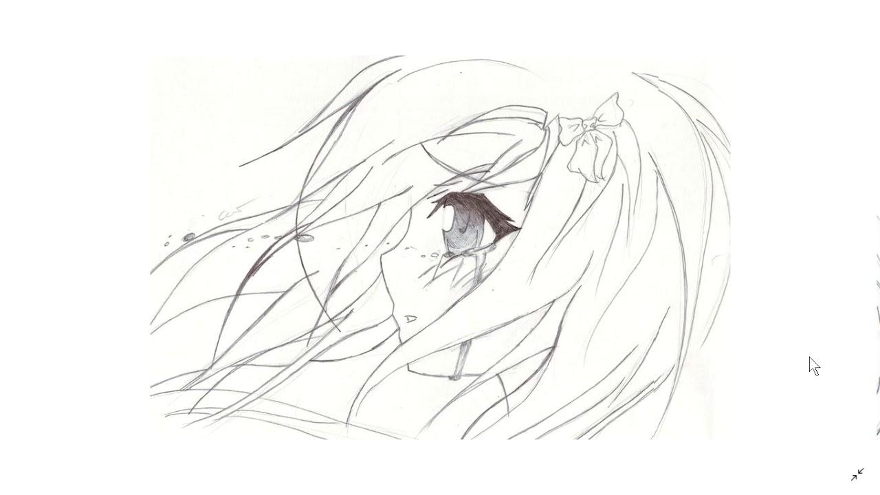 Плачущая аниме девушка картинки для срисовки