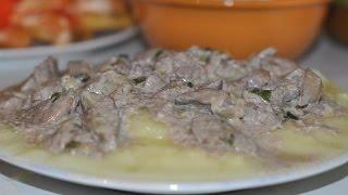 Куриная печень жареная в сметане с луком