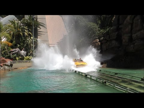 4K Ultra HD Jurassic Park Summertime splash Sequence in Dolby at Universal Studios Hollywood