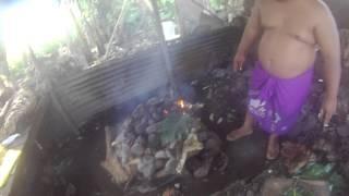 Palusami Preperation: Frying Breadfruit And Banana Leaves
