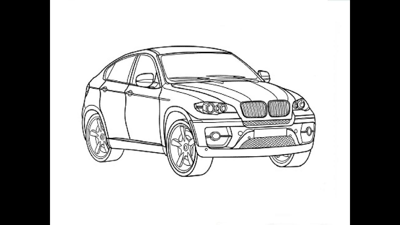 Speed Drawing Bmw X6 Bystroe Risovanie Bmv X6 Youtube