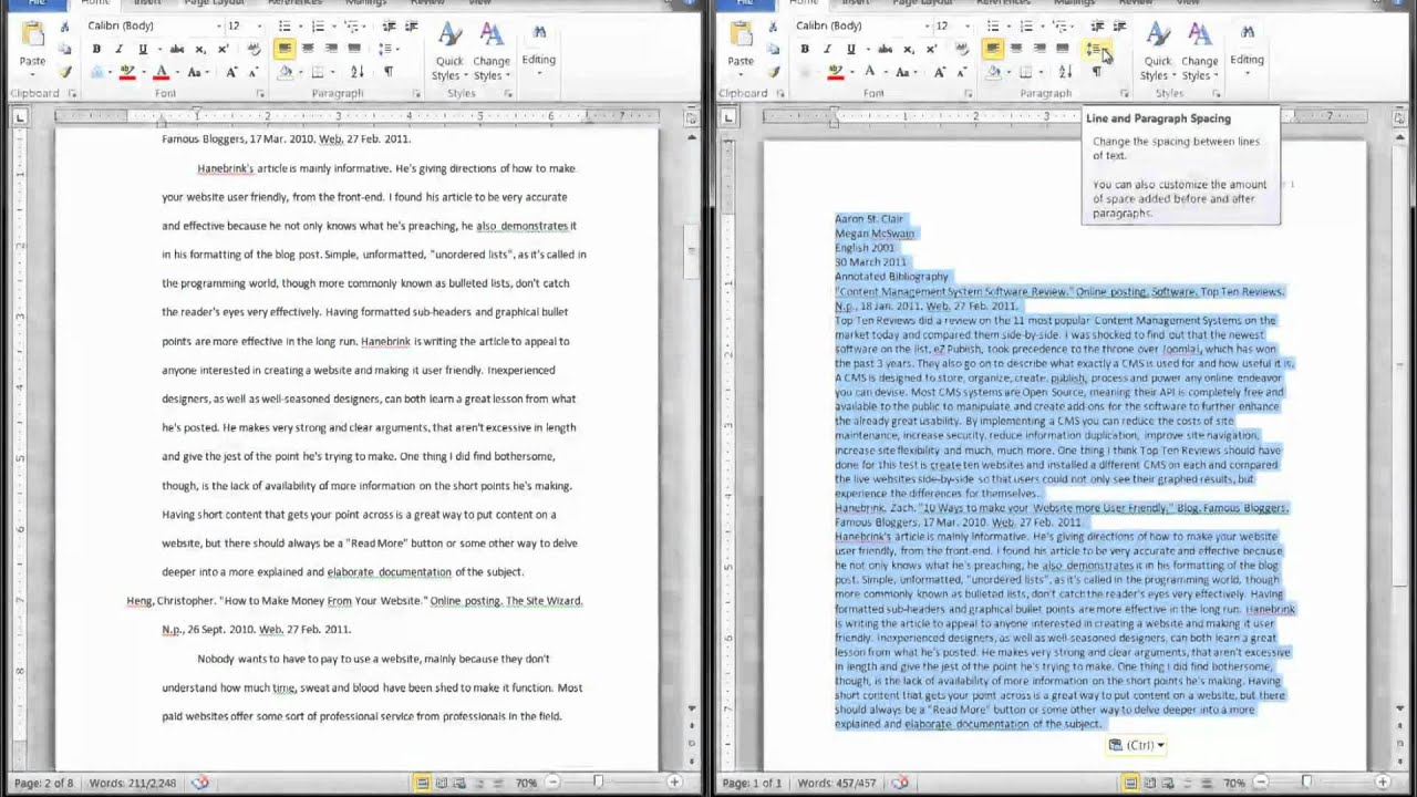 Word How To Create An Annotated Bibliography Youtube