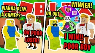 NOOB DISGUISE TROLLING!! *MYSTERY* WHEEL BULLY BAN OR WIN SECRET PET IN ROBLOX BUBBLEGUM SIMULATOR!!