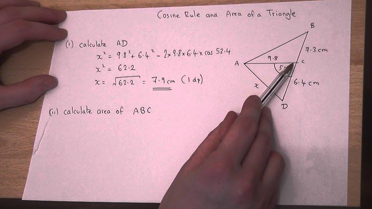 Trigonometry : Cosine Rule And Area Of Triangle