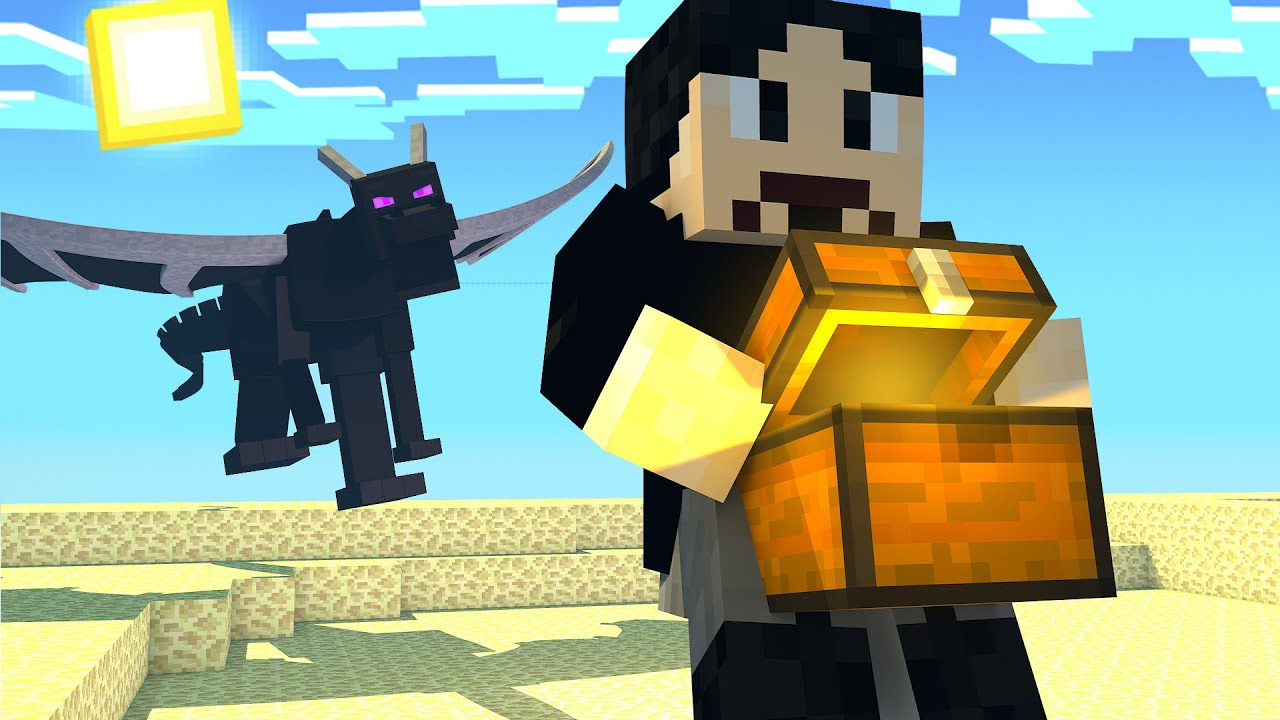 First To Steal Treasure From Ender Dragon Wins! (Minecraft)