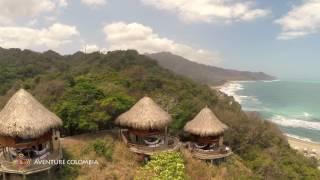 Parque Tayrona - Ecohabs Cañaveral, Costa Caribe Colombia, vista desde el aire Drone