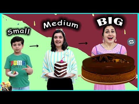 SMALL MEDIUM BIG CHALLENGE   Funny family eating challenge   Aayu and Pihu Show