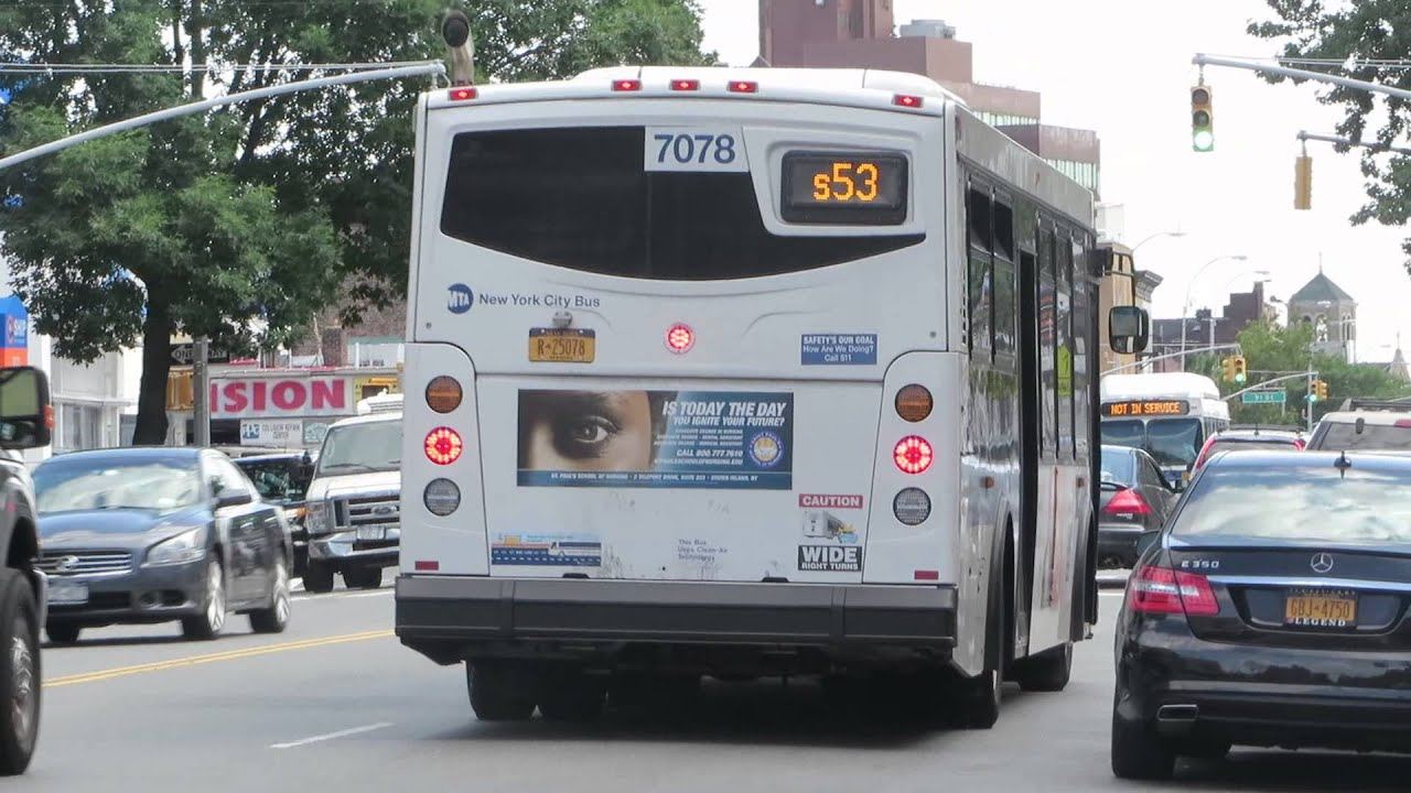NYC Bus: Pt. Richmond bound Orion VII 3G 7078 S53 at 87 St/4 Av S Bus Map Mta on
