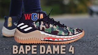 best sneakers 4cce1 033f3 ADIDAS DAME 4 BAPE REVIEW!