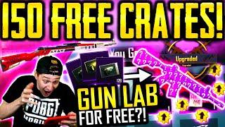 FREE GUN LAB SKIN?! Opening 150 FREE CRATES! | PUBG Mobile