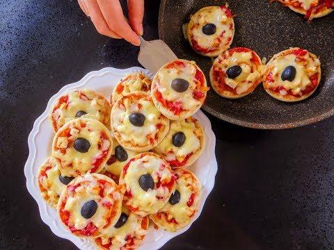 Без духовки! Домашняя выпечка - мини пиццы / Как быстро приготовить вкусный перекус