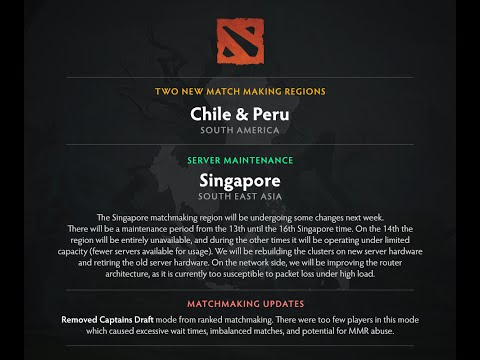 Dota 2 - Two New Matchmaking Regions in South America (Chile and Peru)
