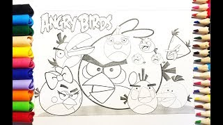 Download lagu Learning Colors For Kids | Drawing Angry Birds, Coloring Pages