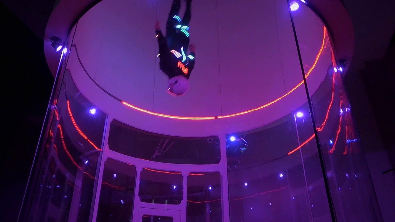 Night skydiving with iFly LED suit   Windtunnel indoor flying in active LED costume
