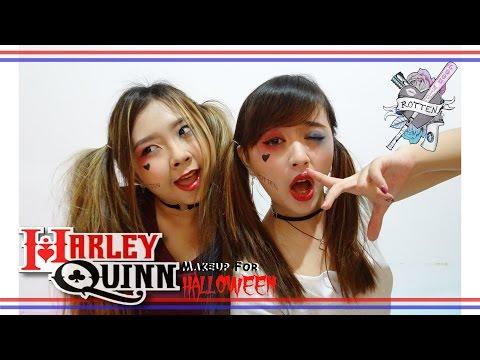 harley-queen-asian-girl-|-makeup-for-halloween-|-tutorial