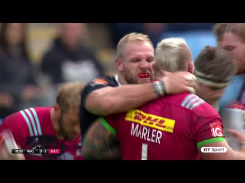 England teammates James Haskell and Joe Marler scrap on the field before making up
