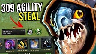 WORLD RECORD?! - 309 Agility Steal Slark Essence Shift by Ana 7.12   Dota 2
