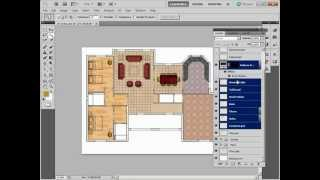 Painting Autocad Drawings With Photoshop: 07/10 Dinning Table