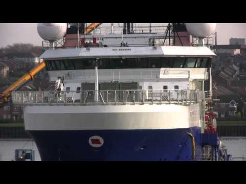 Offshore Vessel Bibby Sapphire in the Dry Dock at Wallsend 7th February 2015