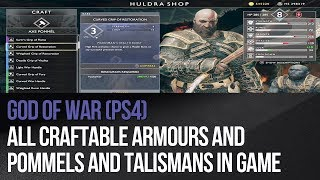 God of War (PS4) - All craftable armours and pommels and talismans in game