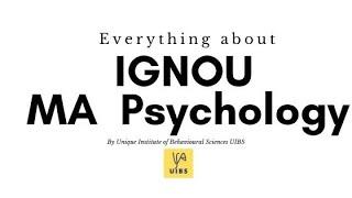 Everything about MA IGNOU Psychology