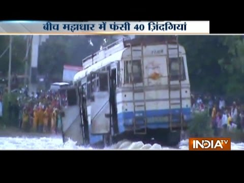Driver risks passenger's life, rides bus through flooded river in Bhilwara