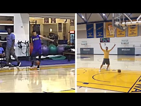 Steph Curry With A Crazy Trick Shot! Kicks The Ball In The Hoop!
