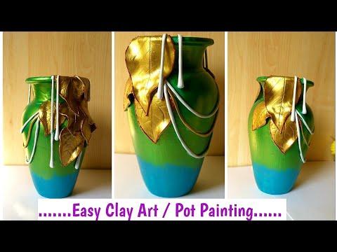DIY Easy #ClayArt On Pot | Pot Painting, Decoration Ideas #Potmural #potpainting #potart