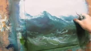 Seascape oil painting. Open space ocean. Part 1.
