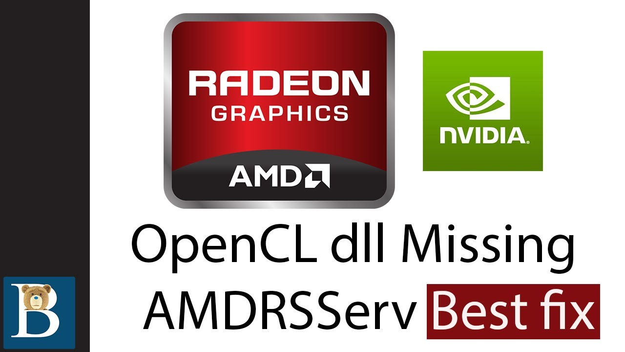 Opencl Dll Missing Fix And Amdrsserv Fix Best Fix Youtube
