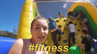 Attempting INSANE inflatable obstacle course!!