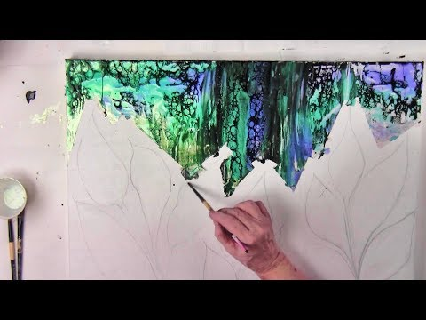 Part 1-Acrylic String Painting fluid Arte with Primary Elements  by Leslie O