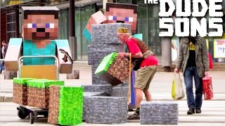 Minecraft In Real Life Pranks 4 - Block Pranks In Public!