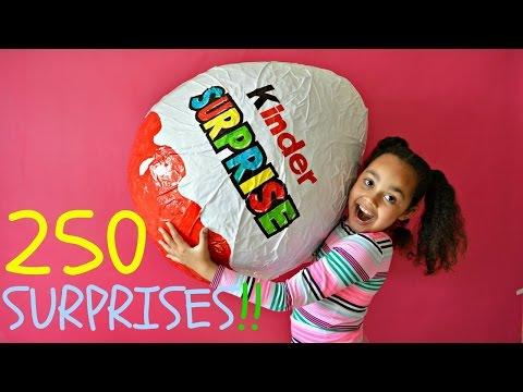 GIANT KINDER SURPRISE EGG | 250 Surprises | Toys AndMe - YouTube