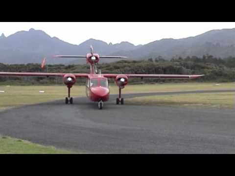 Great Barrier Island, Auckland, New Zealand by plane:  Britten Norman Trislander
