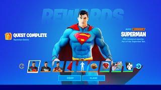How To COMPLETE AĻL SUPERMAN CHALLENGES in Fortnite! (Secret Skin Quests)