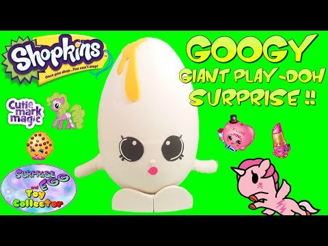 SHOPKINS Giant Play Doh Surprise Egg GOOGY - Surprise Egg and Toy Collector SETC