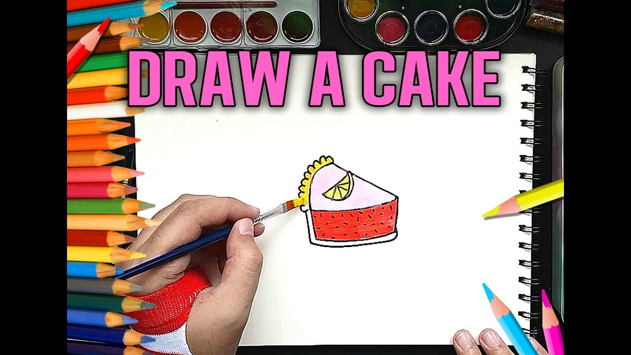 Draw Cake And Color Fun Lemon Cake Drawing For Kids Youtube