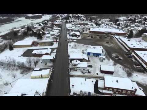 Drone flyover of Maine Street in Madawaska