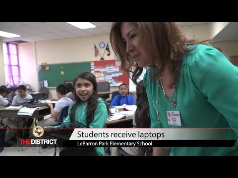 LeBarron Park Elementary School distributes laptops to students