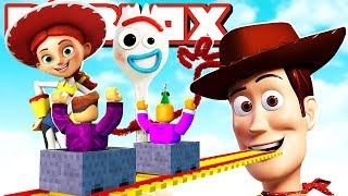 WE DRIVE WITH THE MINECART TO TOY STORY 4 IN ROBLOX!